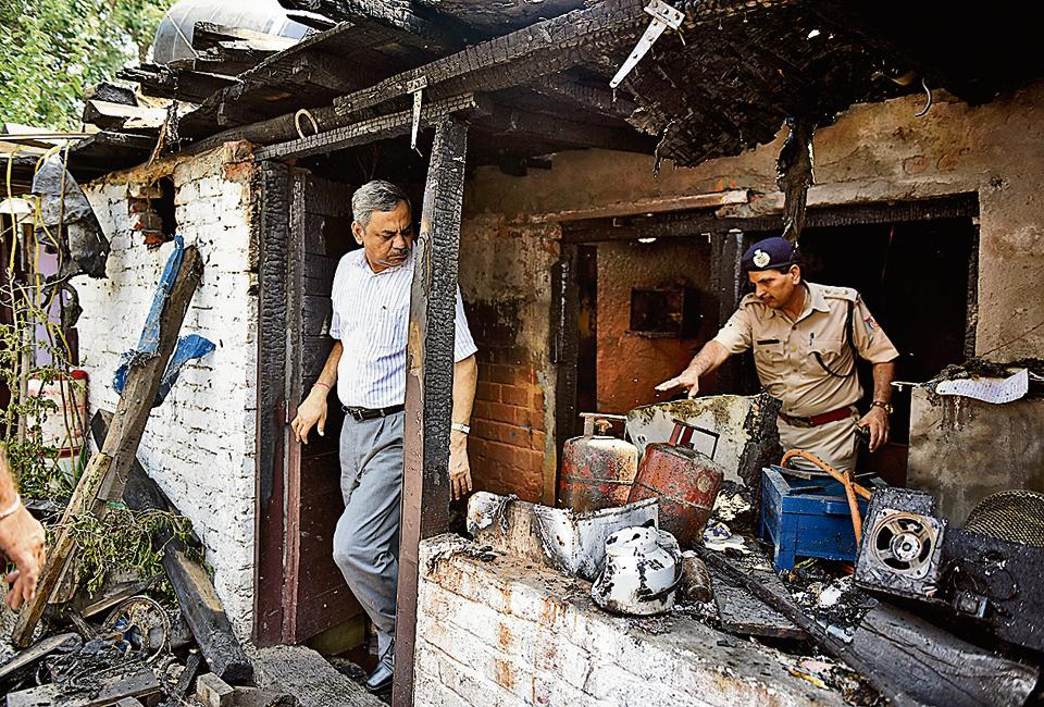 Two shanties in southeast Delhi's Okhla were engulfed in the fire. At least nine people were rushed to the hospital after the incident.