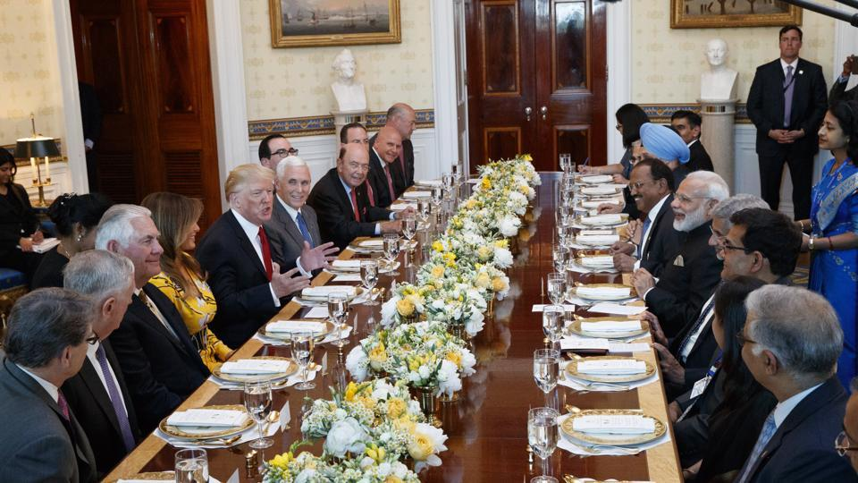 President Donald Trump speaks during a dinner with Indian Prime Minister Narendra Modi at the White House.