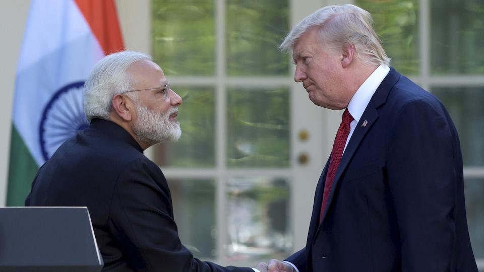 United States President Donald Trump and Prime Minister Narendra Modi, White House, Washington, June 26.
