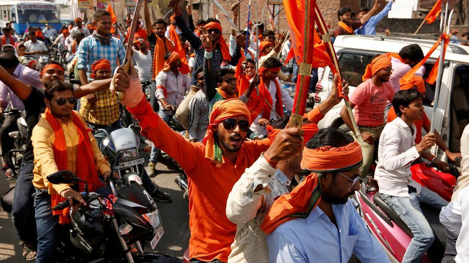 Hindu Yuva Vahini members taking part in a rally in Unnao, on April 5, 2017.
