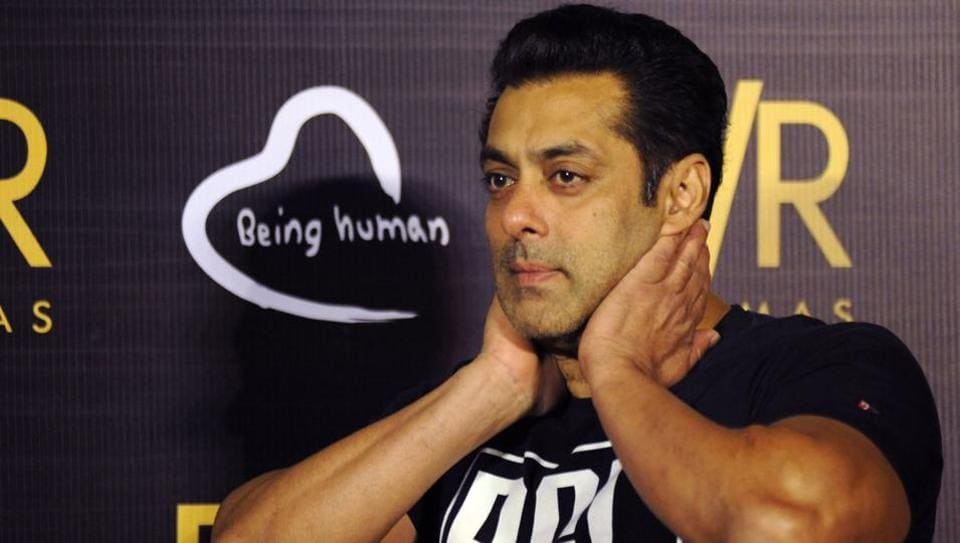 Salman Khan gestures during the announcement of his association with PVR Cinema and Being Human Foundation to support their humanitarian initiatives in Mumbai on June 23, 2017.
