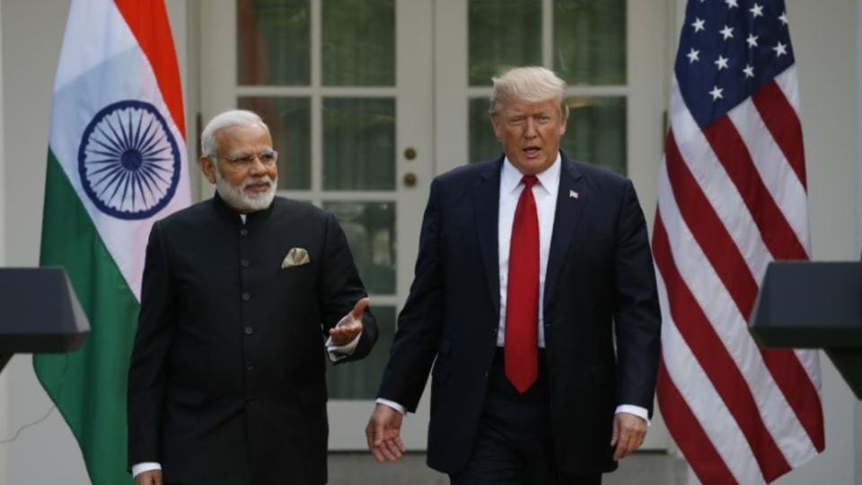President Donald Trump arrives for a joint news conference with Prime Minister Narendra Modi in the Rose Garden of the White House in Washington.