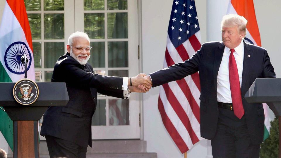 PM Narendra Modi and US President Donald Trump at the joint press statement at White House, in Washington DC.