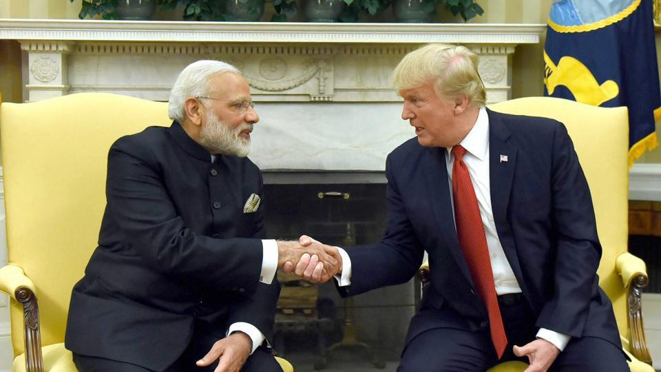 Prime Minister Narendra Modi meeting the President of United States of America (USA), Donald Trump, at White House, in Washington DC, USA.