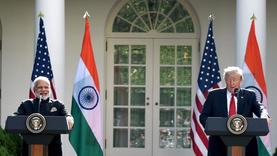Prime Minister Narendra Modi (L) and President of United States Donald Trump at the White House in Washington DC on Tuesday.