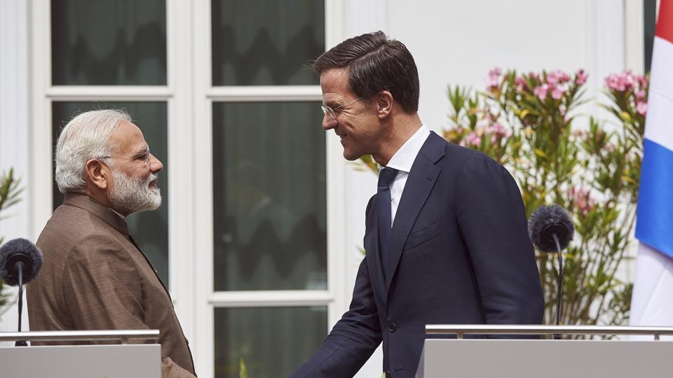Prime Minister Narendra Modi (L) and Dutch Prime Minister Mark Rutte (R) at the Catshuis residence in The Hague, Netherlands on Tuesday.