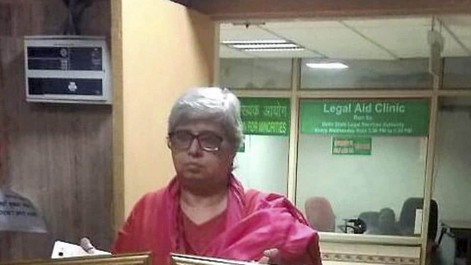 Shabnam Hashmi at a news conference in New Delhi on Tuesday.