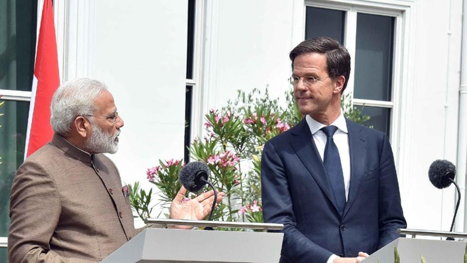 Prime Minister Narendra Modi with the Prime Minister of Netherlands Mark Rutte in Amsterdam.