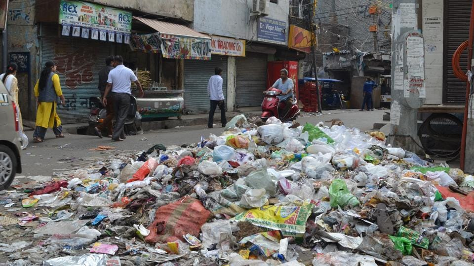 Garbage on Parwana Road in East Delhi after MCD employees went on strike.