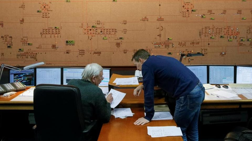 Dispatchers inside the control room of Ukraine's National power company in Kiev.