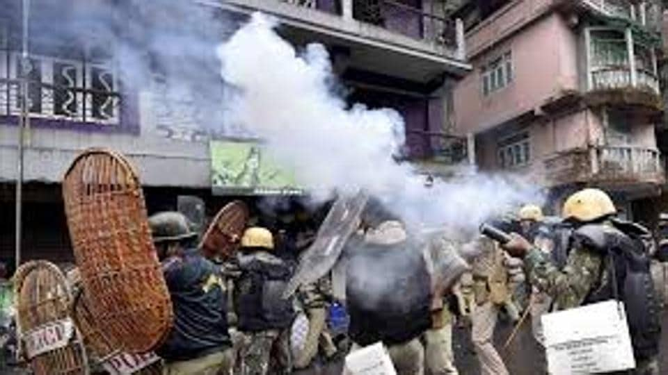 Police firing tear gas shells in Darjeeling on June 17.