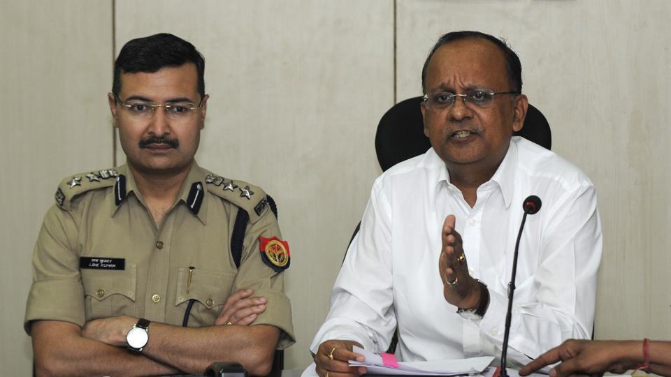 SSP Love Kumar and Gautam Budh Nagar district magistrate BN Singh brief the media on action taken against the land mafia.