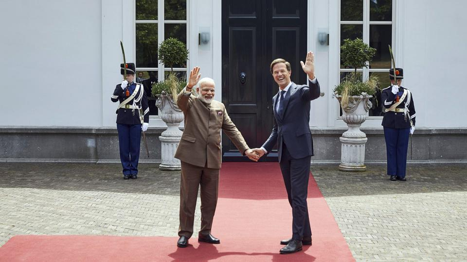 The Hague: Indian Prime Minister Narendra Modi, left, and Dutch Prime Minister Mark Rutte shake hands upon their arrival at the Catshuis residence in The Hague, Netherlands, Tuesday, June 27, 2017. AP/PTI