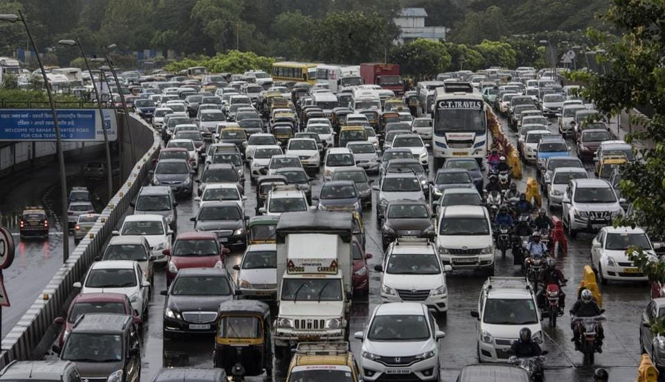 Traffic jam on Western Express Highway after the heavy showers on Tuesday.