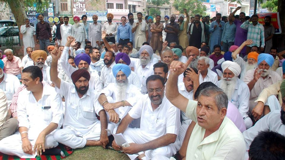 ​Truck union members​ protesting in Bathinda on Wednesday.​​