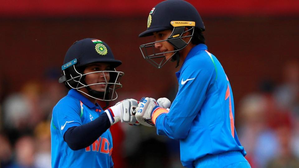 India's Smrti Mandhana celebrates her fifty against England in the ICC Women's World Cup.