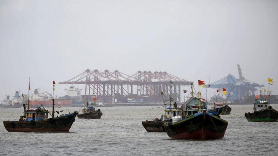 Fishing trawlers are seen in front of the Jawaharlal Nehru Port Trust (JNPT) in Mumbai.