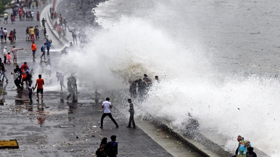 High tide at Marine Drive in Mumbai, on June 25, 2017.