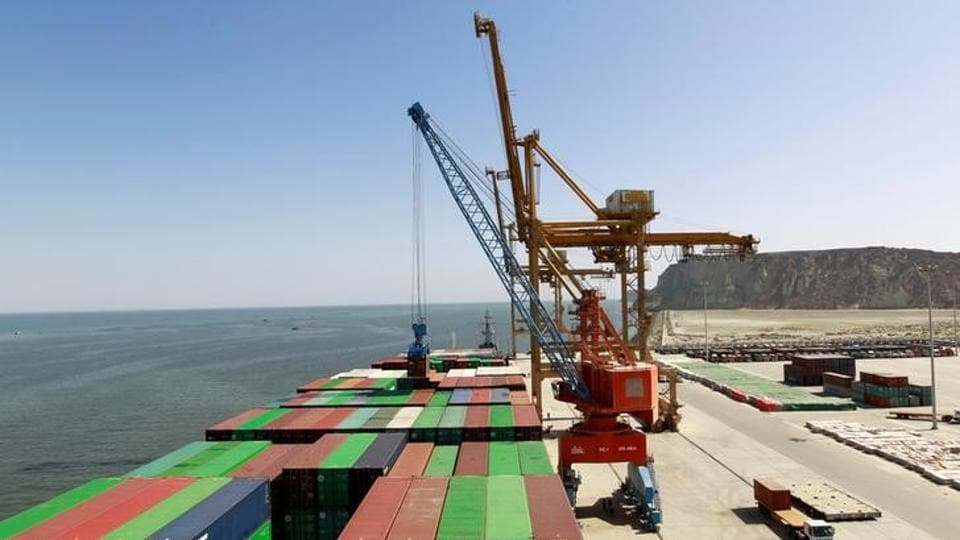 A container is loaded on to the Cosco Wellington, the first container ship to depart after the inauguration of the China Pakistan Economic Corridor port in Gwadar, Pakistan.