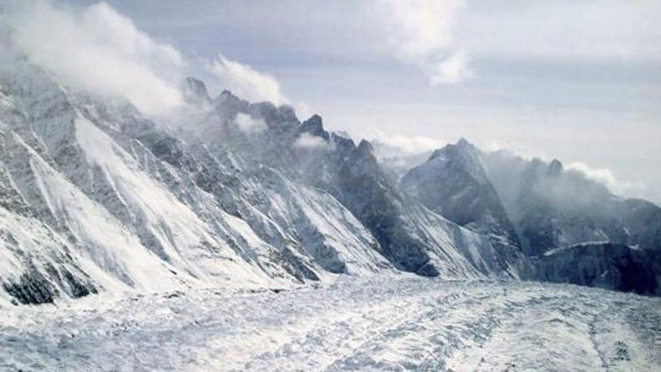 An aerial view of the Siachen Glacier.