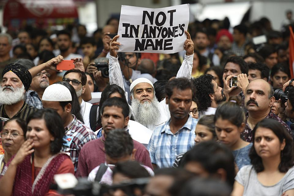 Many citizens and celebrities joined hands in support of the campaign 'Not in My Name' against the lynching of a Muslim at Jantar Mantar in New Delhi on Wednesday.