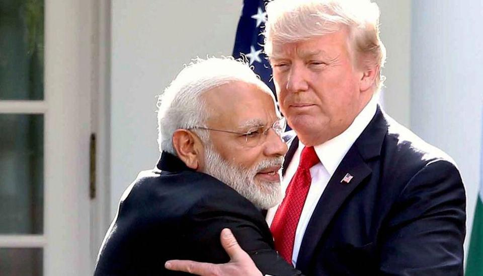 Prime Minister Narendra Modi meets USPresident Donald Trump at the White House in Washington DC.