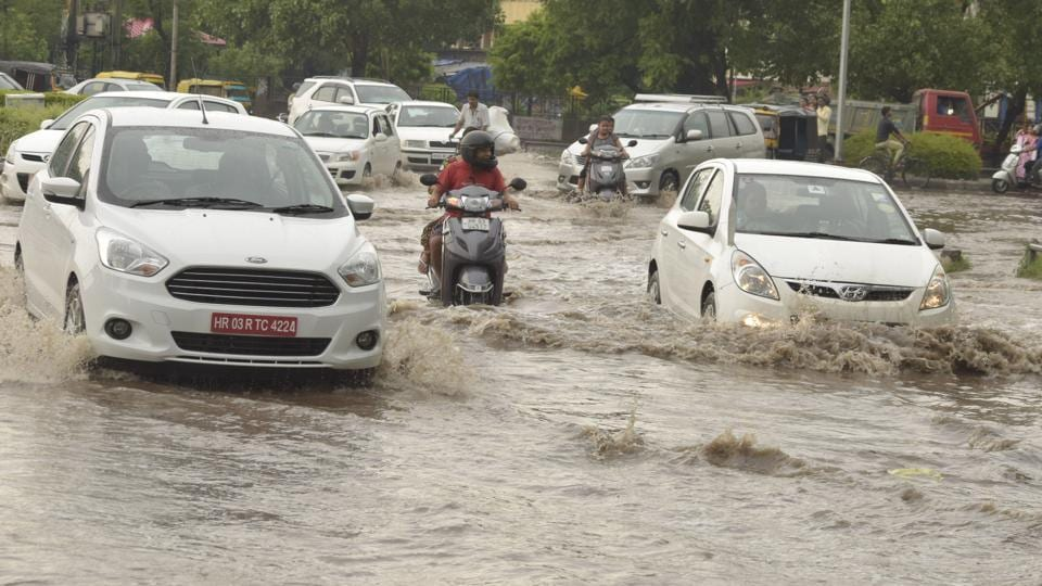 An intersection in Sector 12 turned into a rivulet when the skies opened up last week.