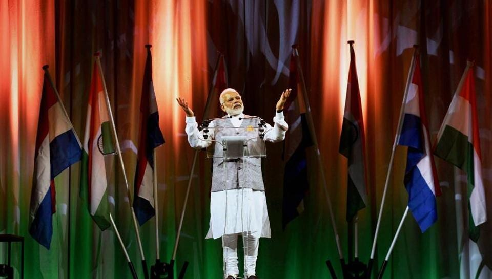 Prime Minister Narendra Modi addressing the Indian community in The Hague.