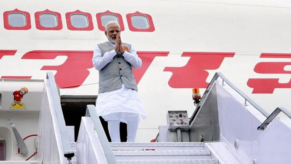 PM Modi on his arrival after a successful visit to Portugal, USA and Netherlands, at AFS Palam in New Delhi.