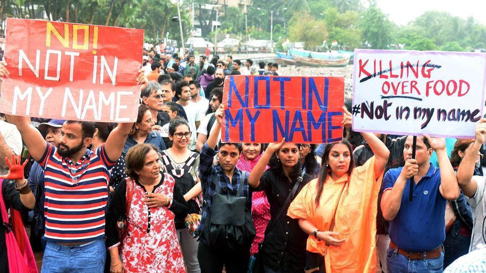 Mumbai : Bollywood actors like Shabana Azmi and Konkona Sen along with activists participate in the protest