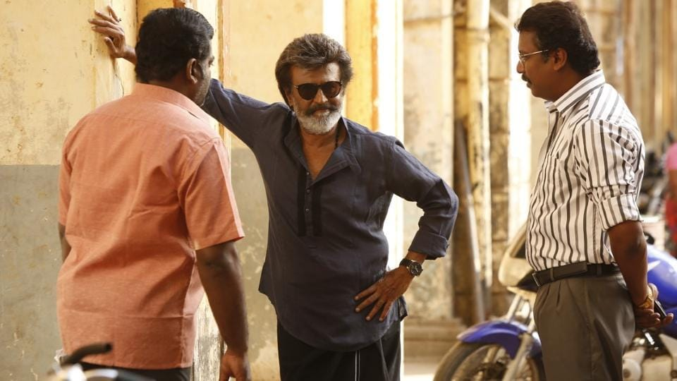 Rajinikanth on the sets of Kaala.