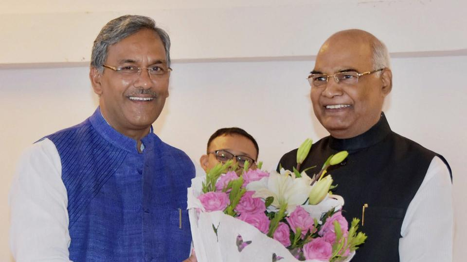 Uttarakhand chief minister Trivendra Singh Rawat greets NDA presidential candidate Ram Nath Kovind in Dehradun on Monday. Kovind was the first to be presented a book by the Rawat government which has decided to give books as presents to all the state guests.
