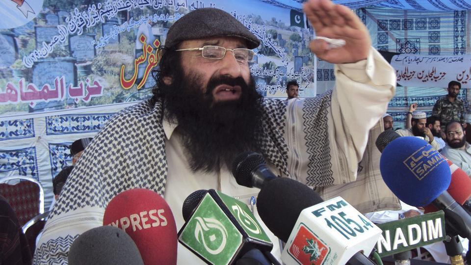 Syed Salahuddin, supreme commander of Hizbul Mujahideen, addresses his supporters in Muzaffarabad capital of Pakistan's administered Kashmir.