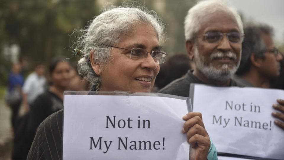Many citizens and celebrities hit the street in support of the campaign 'Not In My Name' . (Satish Bate / HT Photo)