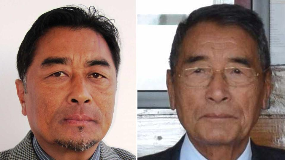 Khriehu Liezietsu (L), son of chief minister Shurhozelie Liezietsu, will be entitled to pay and allowances and all other facilities admissible to a cabinet minister.
