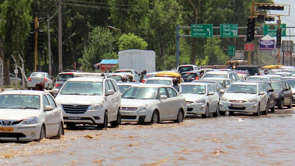 The Baltana intersection on the ZirakpurKalka highway gets flooded even after a slight shower.