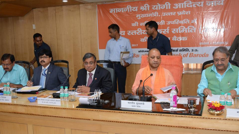 Chief minister Yogi Adityanath at a meeting of State Level Bankers Committee in Lucknow.