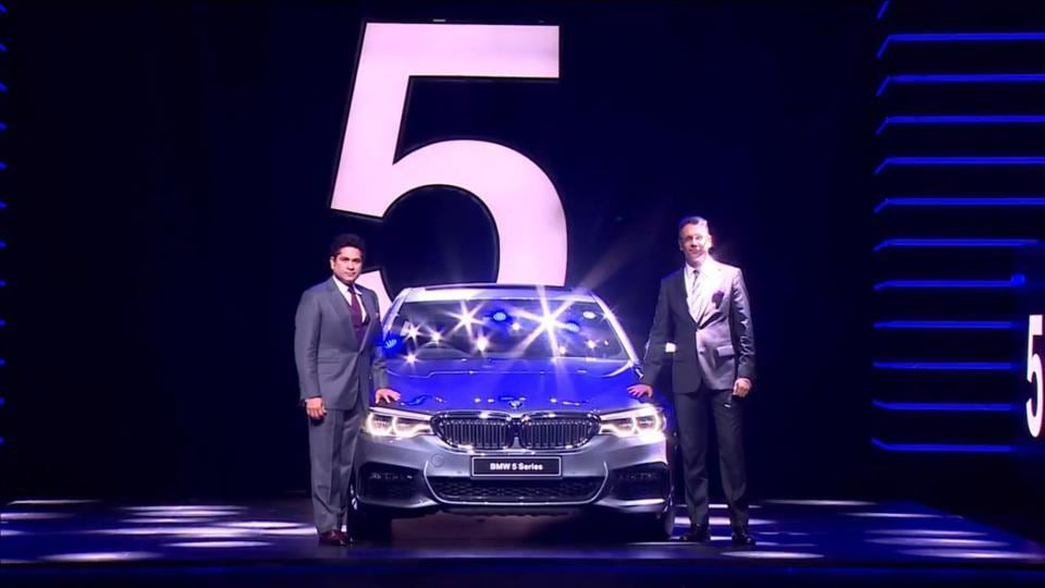 Sachin Tendulkar and Vikram Pawah at the launch of the new BMW 5 Series in India on Thursday.