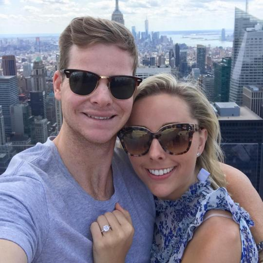 Steve Smith poses with his fiancee Dani Wills.