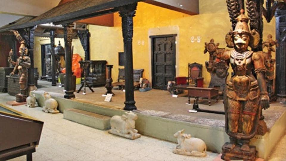 Artefacts from the 14th century on display at the Raja Dinkar Kelkar Museum.