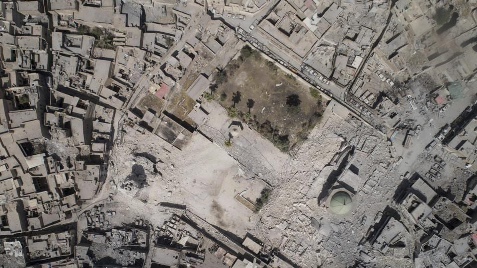 Aerial view of the destroyed al-Nuri mosque during fighting between Iraqi security forces and Islamic State militants in the Old City of Mosul, Iraq.