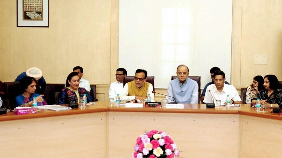 Finance minister Arun Jaitley interacts with trade representatives on GST, in New Delhi on Thursday.