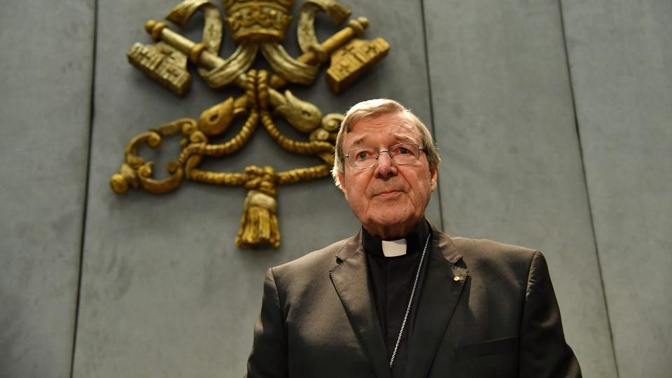 Australian Cardinal George Pell makes a statement at the Holy See Press Office in Vatican City on June 29, 2017 after being charged with historical sex offences.