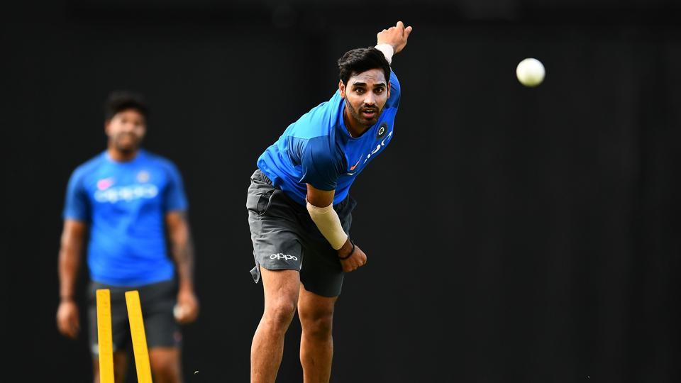 Bhuvneshwar Kumar is pictured during the practice session, as he tasted the pitch conditions with a few deliveries. (AFP)