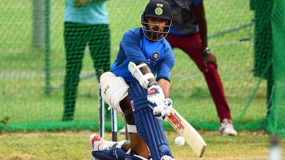 Shikhar Dhawan is pictured during the session. (AFP)