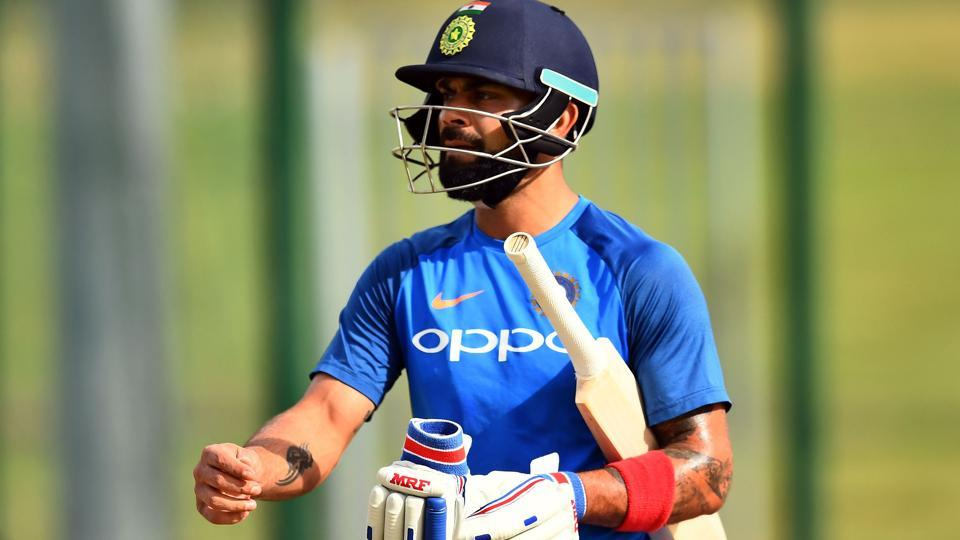 India's captain Virat Kohli leaves the net during a practice session at the Sir Vivian Richards Cricket Ground in St. John's, Antigua.