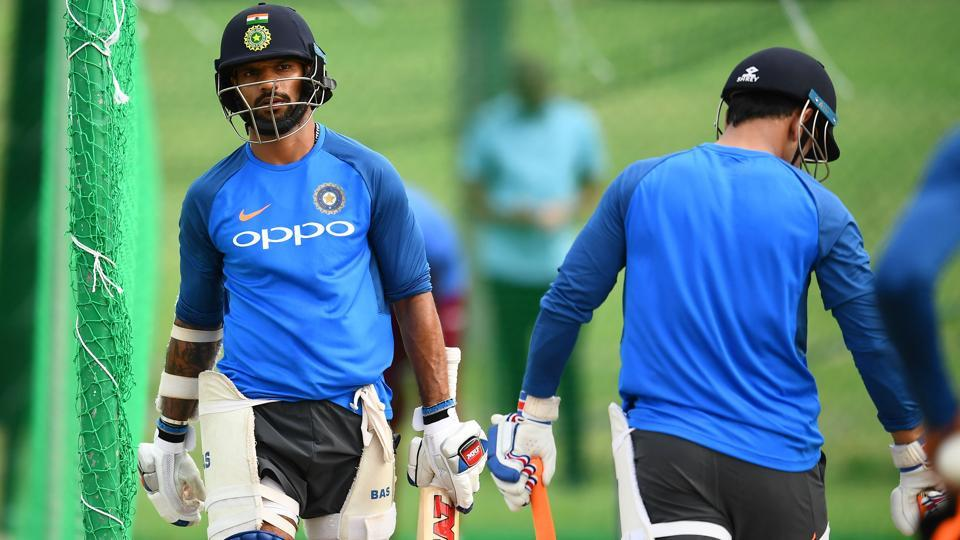 India worked out at the nets ahead of the 3rd ODI against the West Indies in Antigua. (AFP)