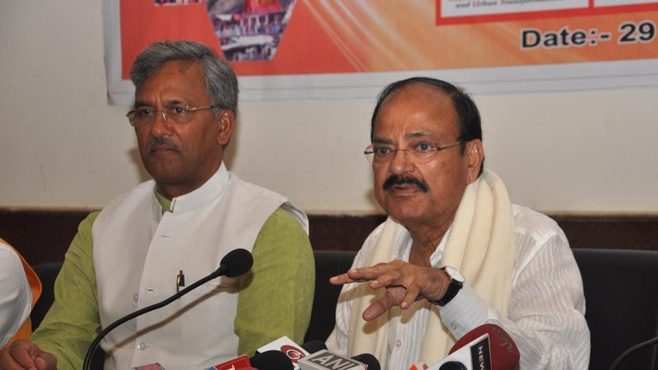 Union minister Venkaiah Naidu addresses the media in Dehradun on Thursday. Chief minister TS Rawat is seated next to him.