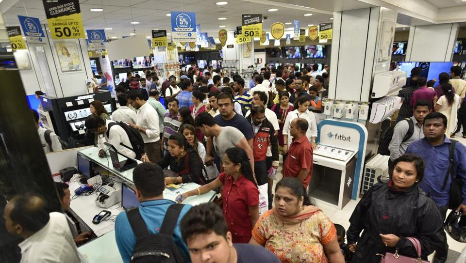 People throng to buy electronic goods in Mumbai on Thursday, a day before implementation of GST.