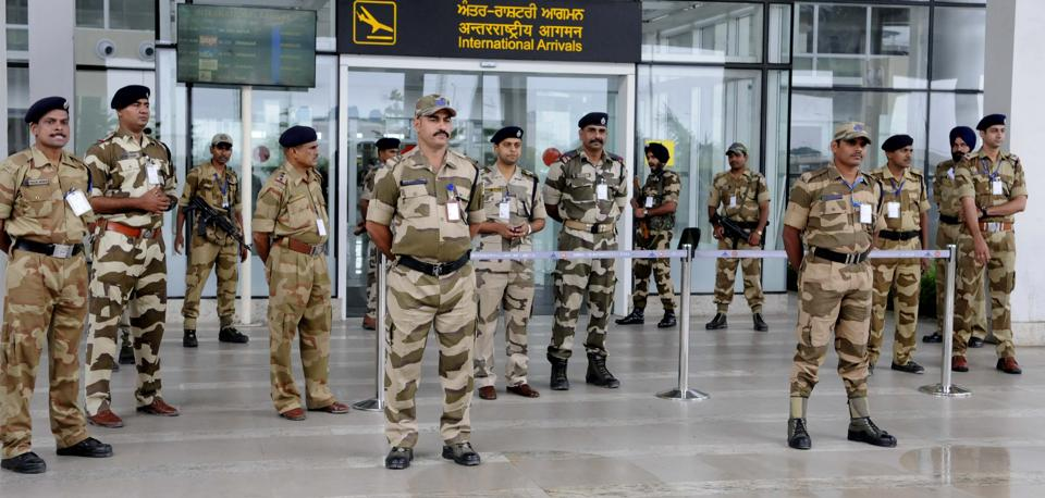 Security beefed up at Chandigarh  International Airport ahead of NDA presidential candidate Ram Nath Kovind's visit. (Keshav Singh/HT Photo)